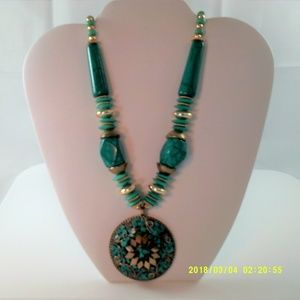 Jewelry - Vintage Faux Turquoise Statement Necklace Boho